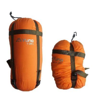 Lightweight Sleeping Bag Duck Down ORANGE PUFFER 5-20°C in compression bag