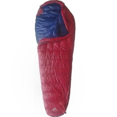 Light Sleeping Bag Duck Down RED PUFFER 0-15°C Partly Open