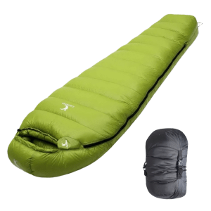 0 Degree Down Sleeping Bag Green with bag