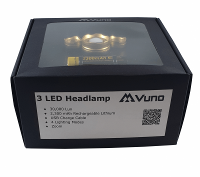 Vuno Rechargeable Triple LED Headlamp with Zoom Side Image