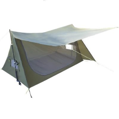 Tasman 2 Person Poleless Light Hiking Camping Tent Side View Open