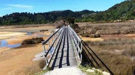 Bridge marking the end of the Abel Tasman Track NZ