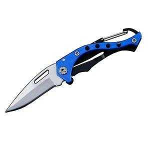 Carabiner Pocket Knife Blue Unfolded