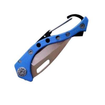 Carabiner Pocket Knife Blue folded