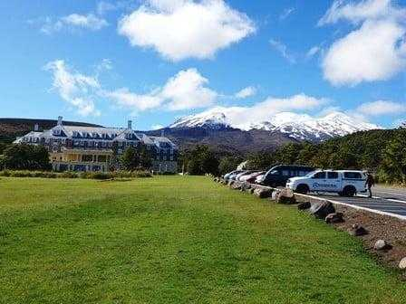 Track start next to the Chateau Tongariro