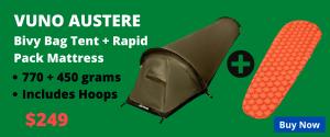 Vuno Austere Bivvy Bag Tent with Hoops plus Ultralight Rapid Pack Mattress