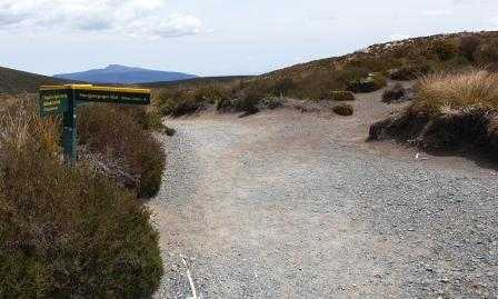 Junction sign to Mangatepopo Hut and Campsite ongariro Northern Circuit