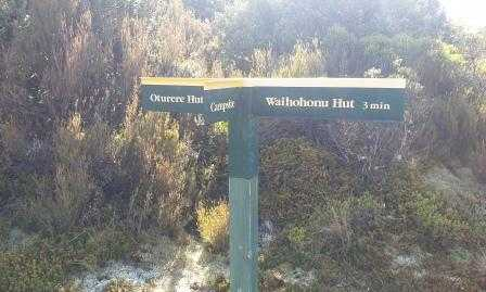 Junction sign Oetere Hut Waihohonu Hut and Campsite