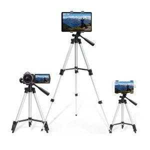 Lightweight Tripod for camera phone tablet showing multi use
