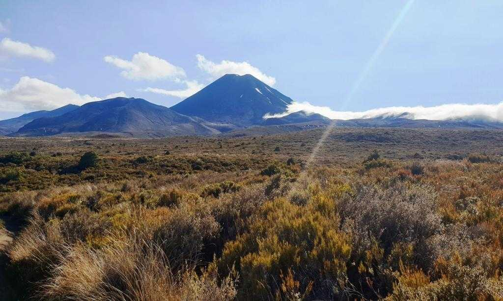 Tongariro Northern Circuit Pukekaikiore slightly in front of Mt Ngauruhoe