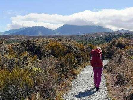 Mt Ngauruhoe on the left on the Tongariro Northern Circuit