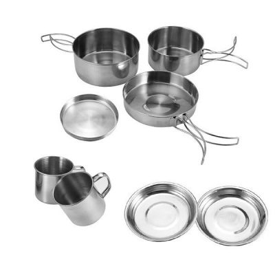 Backpacking Cooking Set with coffee mug 8 piece set complete show