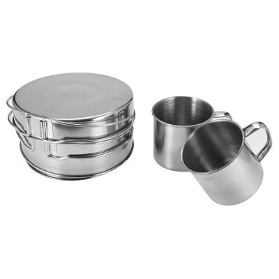 Pot Set with coffee mugs 8 piece set packed up