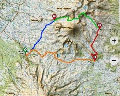 Tongariro Northern Circuit Complete 4 Day Map