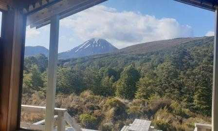 Waihohonu Hut Tongariro Northern Circuit View of Mount Ngauruhoe