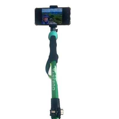 green hiking selfie pole monopole tripod