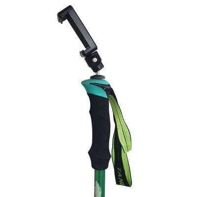 green hiking selfie pole monopole tripod handle view with phone mount angled side shot