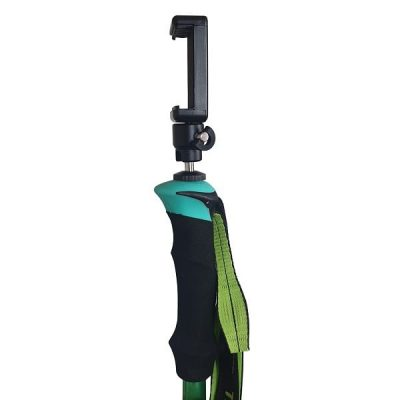 green hiking selfie pole monopole tripod handle view with phone mount side shot
