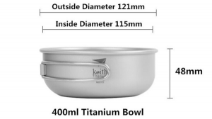 400ml Titanium pan used as pot lid or bowl