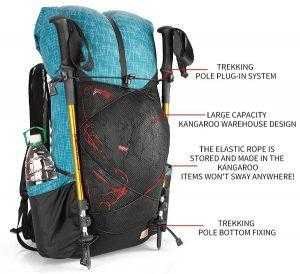 Tramping backpack features front view