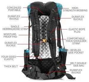 Tramping pack features rear view