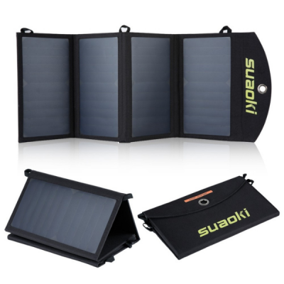 partially folded un folded and fully folded views of solar charger