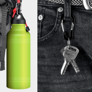 Aluminum carbiner clips used to attach water bottle to backpack