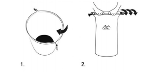 70L Pack Liner Instructions steps 1 and 2