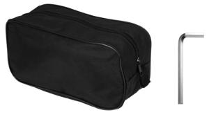 Inlcudes key for adjusting length and storage bag