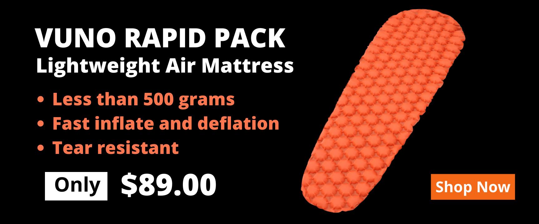 Vuno Rapid Pack Lightweight Mattress Banner 89