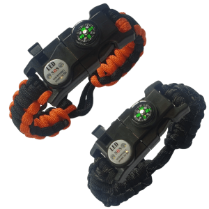 Paracord bracelet survival bracelet with flint fire starter EMB01-BK