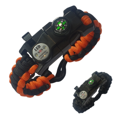 Paracord bracelets with survival aids