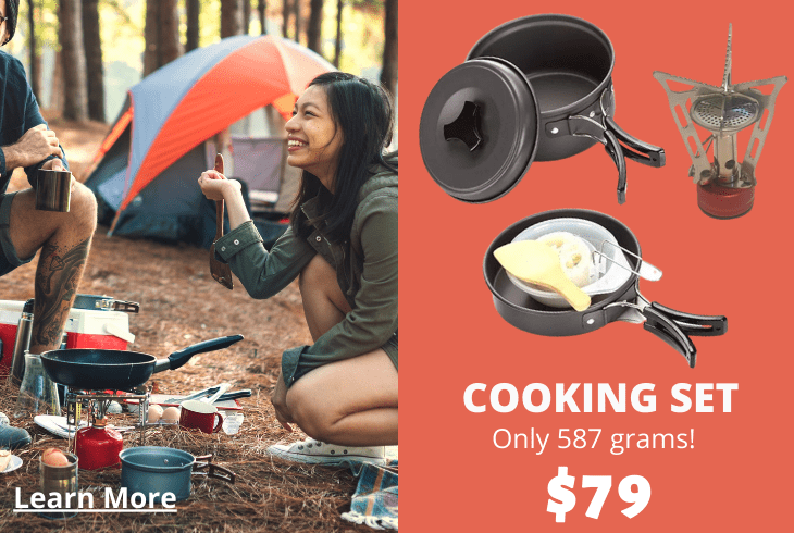 Hiking cooking gear set