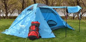 4 Season hiking tent door used as awning
