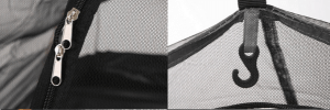 Dual zipper and lantern hook