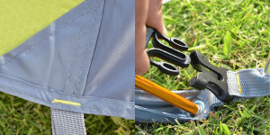 Reinforced stitching at critical points on the 4 season tent