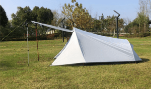 Tent door used as awnng for shade