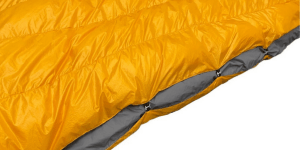 Clips replace part of zipper on the side of camping quilt