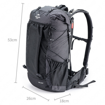 Naturehike NHBO45G 40L Grey Ultralight Backpack with Frame Dimensions