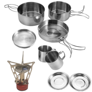 Camping Pots and Pans Set Stainless Steel with Gas Cooker