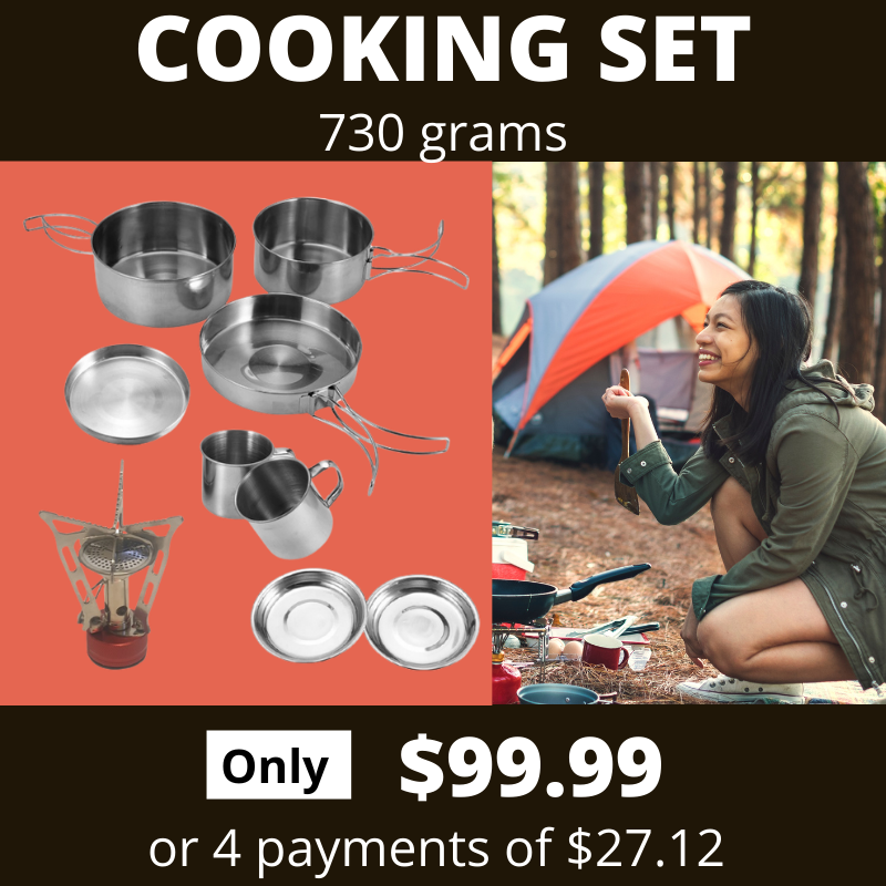 Camping Cooking Gear Banner Stainless Steel Cooking Set with Stove 800